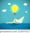 Paper Boat hanging on the light bulb. Stock vector 32007923