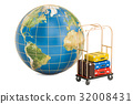 Earth globe and hotel trolley colored suitcases 32008431