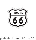 Travel USA sign. Route 66 label American road icon 32008773