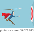 businessman running with spear go to target 32020503