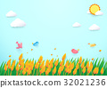 Paper art style Barley field and birds background 32021236
