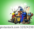 Travel backpacks with climbing equipment 32024298