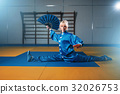 Female wushu master exercise with fan, martial art 32026753
