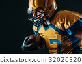 American football offensive player with ball 32026820