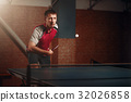 Table tennis, player in action, ball with trace 32026858