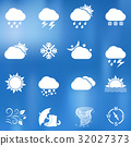 Weather icons on blurred background 32027373