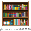 Library book shelf. Bookcase with different books. 32027579