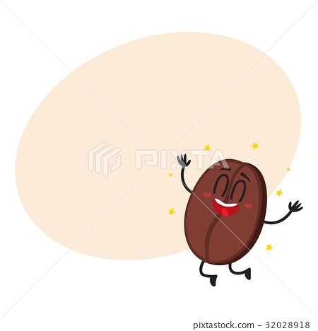 Cute, funny coffee bean character with human face 32028918
