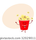 Funny cinema popcorn bucket character with smiling 32029011