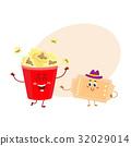 Cinema popcorn and vintage movie ticket characters 32029014