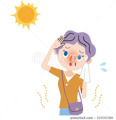中暑 热 矢量 32030380