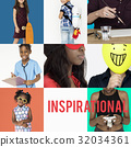 Set of Diverse People Inspirational Ideas Studio Collage 32034361