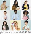 Set of Diversity People with Money Savings Future Plan Studio Collage 32034396