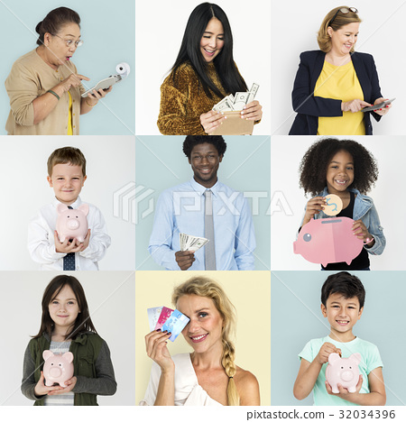 Set of Diversity People with Money Savings Future Plan Studio Collage 32034396