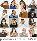 Collages diverse people illness symptoms 32034539