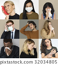 Set of Diversity People with Health Sickness Studio Collage 32034805