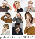 Collages diverse people illness symptoms 32034823