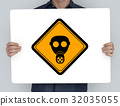 Studio Shoot Holding Banner with Radioactivity Protection Mask Sign 32035055