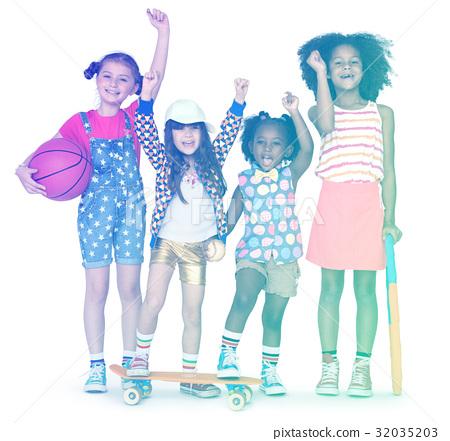 Children standing and raising hands 32035203