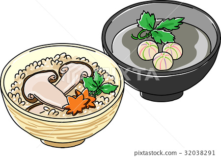 Matsutake mushroom rice and soup 32038291