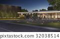 luxury modern building in village at night 32038514