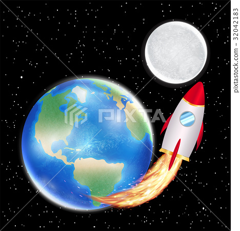 space rocket launching from earth to moon 32042183