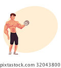 bodybuilder, training, vector 32043800