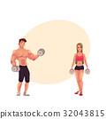 bodybuilder, training, vector 32043815