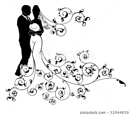 Silhouette Bride and Groom Wedding Couple 32044659
