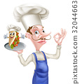 Cartoon Chef Perfect Kebab Mascot 32044663