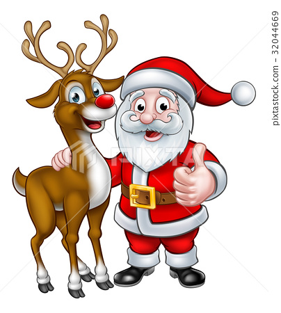 Santa and Christmas Reindeer 32044669