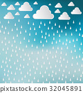 Paper cut white clouds and rain drops on blue sky 32045891