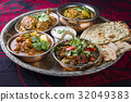 Indian Dishes on traditional Thali 32049383