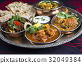 Indian Dishes on traditional Thali 32049384