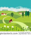 rural, vector, meadow 32050755
