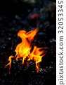 Flame fire movement on a black background. 32053345