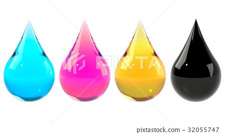 Ink drops set CMYK 32055747