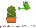 Watering can water grassy dollar symbol 32056770