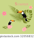 Toucan with palms, pineapple and tropical flowers 32056832