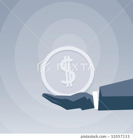 Business Man Hand Holding Coin Money Success 32057133