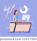 Business Woman Sitting Desk Working Computer Over 32057384