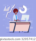 African American Business Woman Sitting Desk 32057412