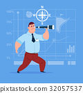 Business Man With Binoculars Successful Future 32057537
