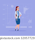 Business Woman Over Abstract Financial Graphic 32057729