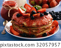 Stack of homemade pancakes with strawberry mousse  32057957