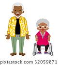資深夫婦黑色輪椅夫人 32059871