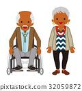 資深夫婦黑人輪椅人 32059872