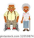 有輪椅和玻璃的資深夫婦黑人 32059874