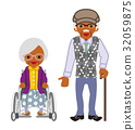 Senior couple black lady with a wheelchair and a man with a cane 32059875