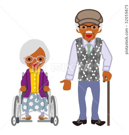 有輪椅的資深夫婦黑人夫人和有藤莖的一個人 32059875